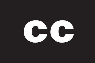"Closed caption symbol. The letters ""cc"" in white over a black background."
