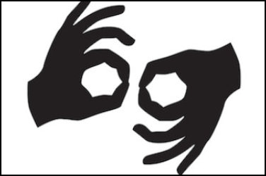 Sign language symbol. Black silhouette of 2 hands facing each other over a white background.