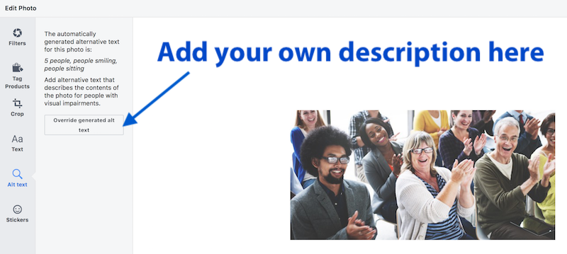 Facebook photo editing menu on the right and a photo of 5 people seating while smiling and applauding at a meeting on the left.