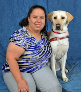 Judy Matthews and her guide dog Keets